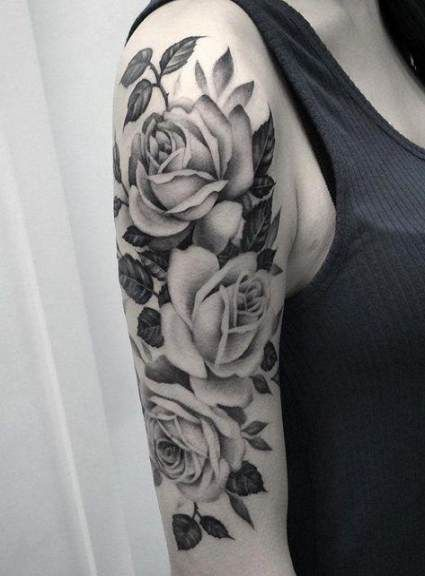 65 New Ideas Tattoo Sleeve Girl Color Roses Girls With Sleeve Tattoos White Rose Tattoos Rose Tattoos For Women