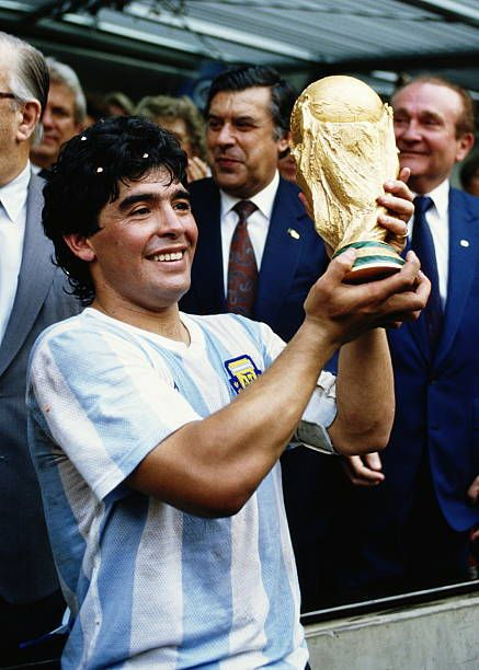 Diego Maradona Of Argentina Lifts The Trophy And Celebrates Winning In 2020 Diego Maradona Argentina Diego