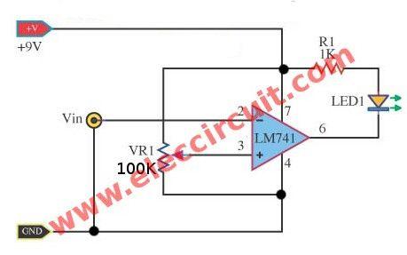 Simple Level Voltage Detector Circuit Using Lm741
