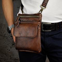 4d4aaf1f3eca8 Leather Belt Pouch Mens Small Cases Waist Bag Hip Pack Belt Bag Fanny Pack  Bumbag for Men