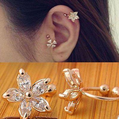 Cartilage Lady Crystal Flower Ear Cuff Fake Earring Wrap Clip On Earring Ebay Ear Cuff Earings Flower Ear Cuffs Crystal Ear Cuff