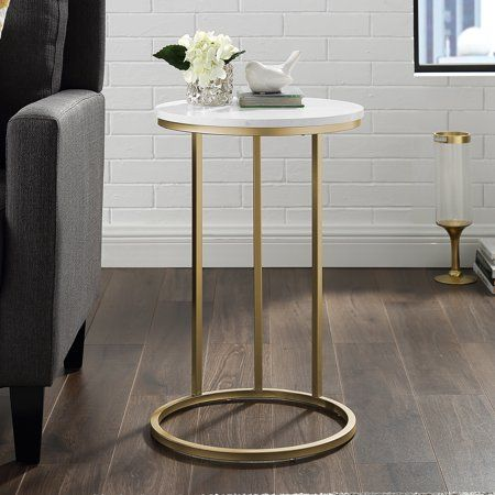 Athena Faux Marble Gold C Shaped End Table By Ember Interiors Size 24 Inch X 16 Inch In 2020 C Table Living Room Furniture Sale Furniture