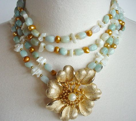 Statement Flower Necklace,Chunky Bold, Multi Strand, Aqua Amazonite, Gold Freshwater Pearls, Repurposed Vintage Brooch by Laise Originals