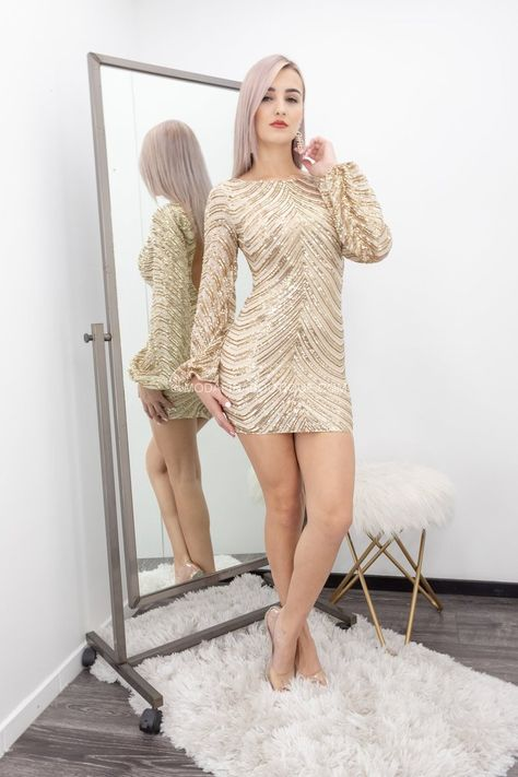 Emery Open Back Sequin Long sleeve Mini Dress