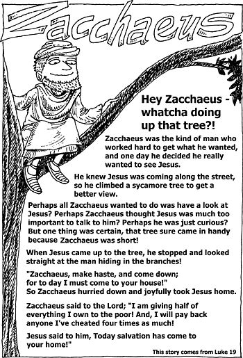 Zacchaeus Bible Story Coloring Pages Sunday School Handouts