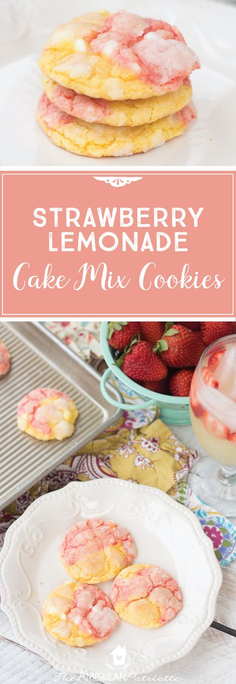 Strawberry Lemonade Cake Mix Cookies Easy Homemade Cookies Summer Dessert Recipe Easy Dessert Recipe
