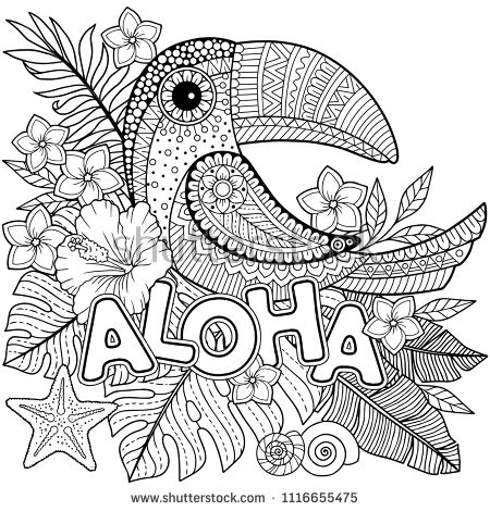 Vector Coloring Book For Adults Toucan Among Tropical Leaves And