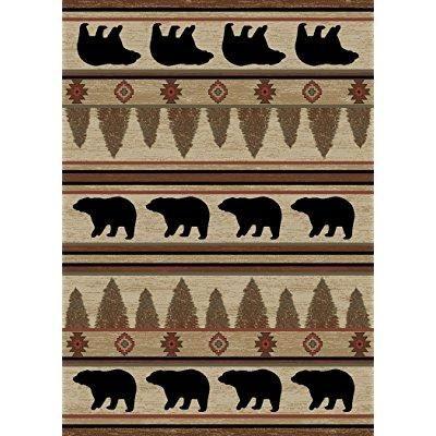 Rustic Lodge Bear Cabin 8x10 Area Rug 7 10x9 10 Multi 7482 Rusticcabins Bear Area Rug Rustic Bear Bear Decor