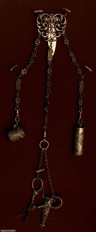 STERLING SEWING CHATELAINE - ENGLAND  c. LATE 19TH CENTURY