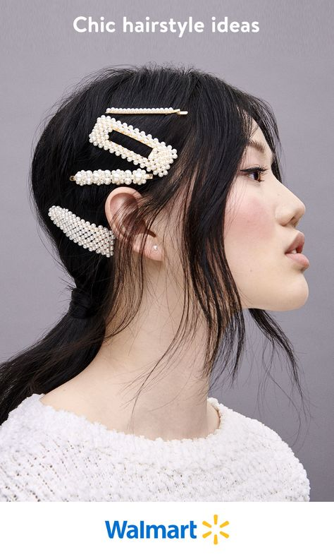 Go big on style with oversized pearl hair clips that give any ponytail a chic touch.