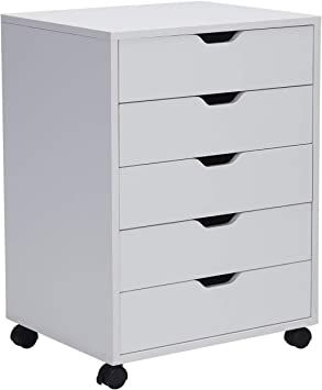 Vicllax 5 Drawer Mobile File Cabinet Storage Dresser Organizer Fully Assembled Except Casters White Filing Cabinet Mobile File Cabinet Storage Cabinets