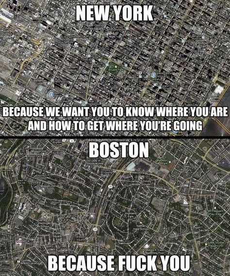 boston vs new york map meme New York City Roads Versus Boston Because We Want You To Know boston vs new york map meme