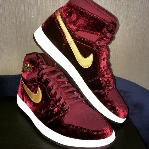 buy popular c8e1d a039b The Air Jordan 1 Red Velvet will release as a part of the upcoming Heiress  Collection in a GS exclusive size run featuring a premium velvet upper.