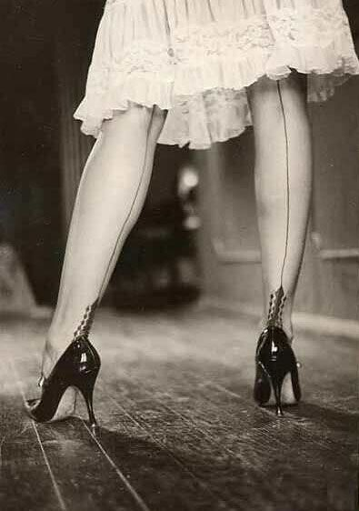 Love vintage stockings with the back seam