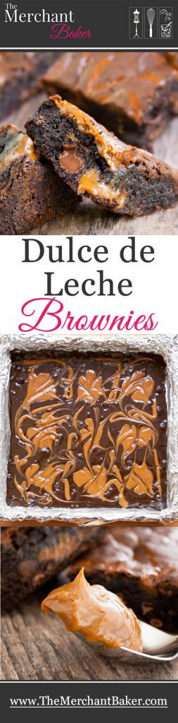 Dulce de Leche Brownies.  My favorite brownie recipe amped up with creamy caramel rivers of dulce de leche.
