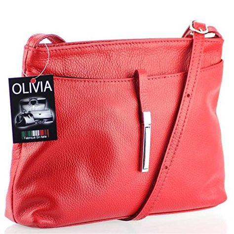 Olivia – Sac bandoulière femme Cuir rouge BARI N1373 Sac en cuir véritable / Pas cher – Rouge, Cuir
