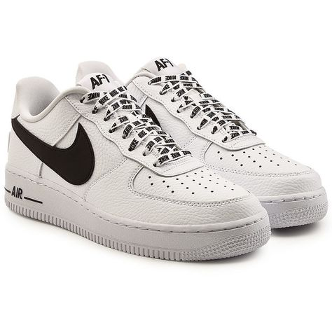 68396a5d0 Nike Air Force 1 Leather Sneakers ($150) ❤ liked on Polyvore featuring  men's fashion, men's shoes, men's sneakers, shoes, white, nike mens sneakers,  nike ...