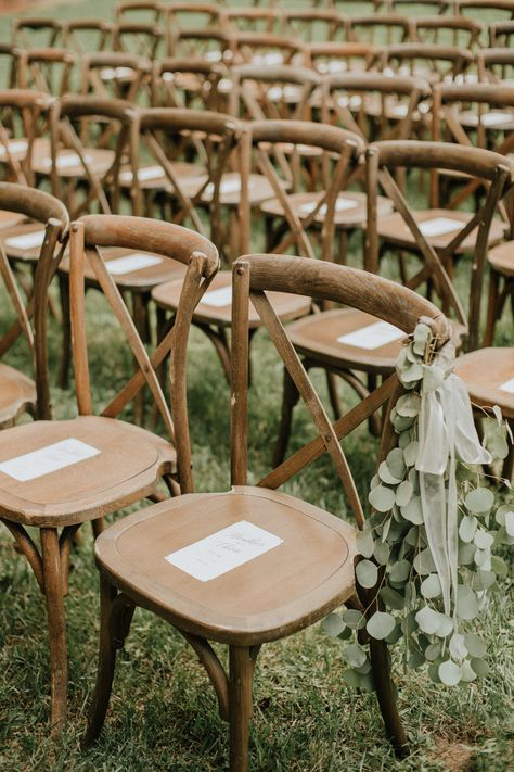 Natural + Ethereal Wedding Inspiration / Rustic Cross Back Chairs for Wedding Ceremony / Heather & Chris Wedding / Blush + Navy + Sage Green Wedding Palette / @heatherpoppie