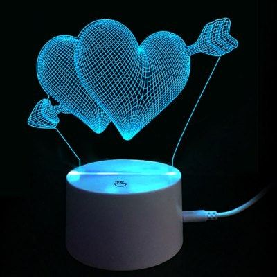 Wedding heart rose 3D usb led 7 color desk touch night lights lamp home gift