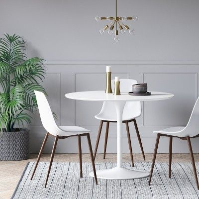 Braniff Round Dining Table Metal Base White Project 62 Plastic Dining Chairs Metal Dining Table Round Dining Table
