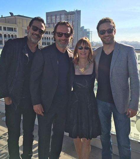 Jeffrey Dean Morgan, Andrew Lincoln, Gale Anne Hurd and Ross Marquand at #SDCC2016 #TWDSDCC  @rossmarquand