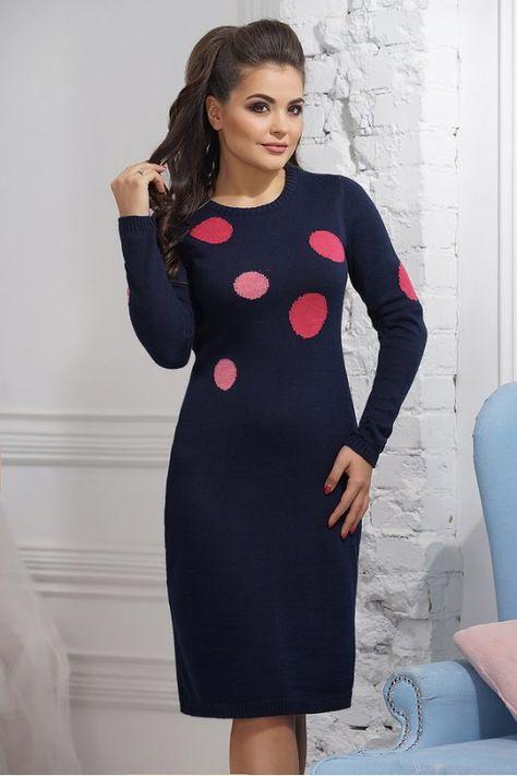 9ee878f2f04 Теплое вязаное платье с зимним орнаментом купить в интернет-магазине ModaMio