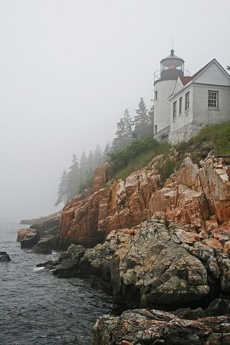 Lighthouse in the Mist - Maine Bass Harbor Lighthouse, Lighthouse Art, The Places Youll Go, Places To Visit, Bangor Maine, Acadia Maine, Lighthouse Pictures, Mysterious Places, Abandoned Places