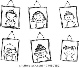 Sketches Of Family Members In The Framework Family Drawing Family Stock Photo Happy Cartoon