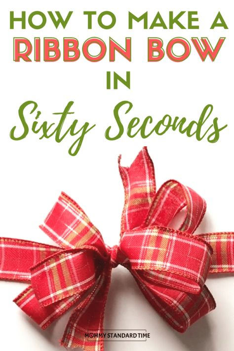 How to make a ribbon bow in sixty seconds. There is no shortage of opinions on h… How to make a ribbon bow in sixty. Wrapping Ideas, Gift Wrapping Bows, Gift Bows, Bows For Gifts, Gift Wraping, How To Make A Ribbon Bow, Diy Ribbon, Ribbon Crafts, Ribbon Hair