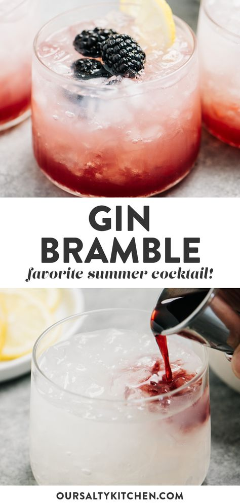 This simple bramble cocktail is so quick and easy! Gin, lemon juice, simple syrup and creme de cassis is poured over ice, for a cool and refreshing sip. Tonic Cocktails, Refreshing Summer Cocktails, Classic Cocktails, Cocktail Drinks, Alcoholic Drinks, Beverages, Gin Cocktail Recipes, Cocktail With Gin, Raspberry Gin Cocktail