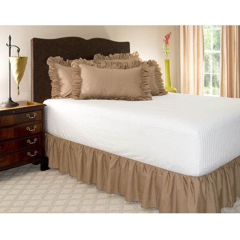 Solid Taupe Ruffle Bed Skirt Split Corner 600 TC Cotton All Bed Size Drop Length