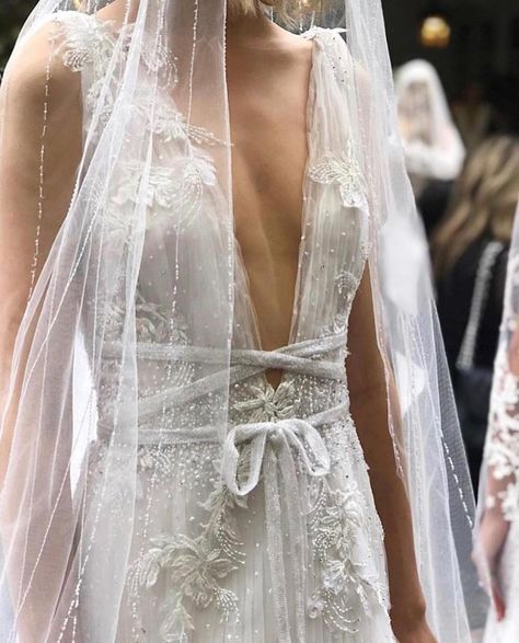 """Marchesa on Instagram: """"Plunging v-neckline pleated tulle gown with scattered crystal and sequin embroidery from the Fall/Winter 2019 Marchesa Bridal collection.…"""""""