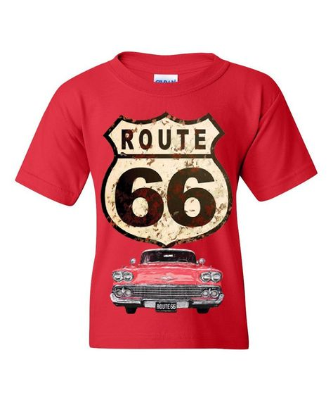 Route 66 Retro Car Youth T-Shirt The Mother Road American Classic Kids Tee