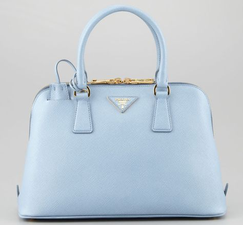 Prada Pale Blue and Cobalt, Saffiano Lux Leather Bag with Spring Hinge Closure