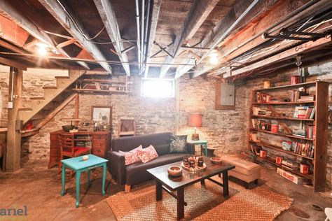 Old basement, with a lot of character! Really wish we can do this to our old basement. Old Basement, Basement Office, Basement Makeover, Basement House, Basement Walls, Basement Bedrooms, Basement Flooring, Basement Renovations, Home Remodeling