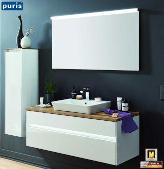 Puris Unique Badmobel Set 120 Cm Mit Keramik Aufsatz Waschtisch Led Spiegel Badmobel Set Waschtisch Led Spiegel