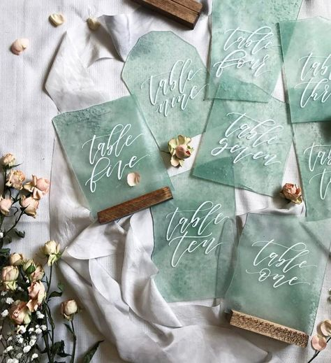 Sea Glass Table Numbers by @bashcalligraphy / Beach Wedding Decor / Boho Beach Wedding / 2018 Wedding Trends Click to shop