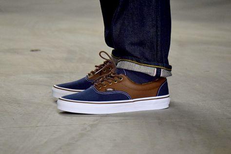 Vans Era C&L - Bleu/Marron - Sneakers.fr | Chaussures vans, Cuir, Vans
