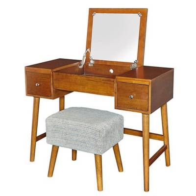 Product Image For Linon Home Midcentury Modern Vanity Table And Bench Set In Brown 4 Out Of Modern Vanity Table Table And Bench Set Modern Vanity