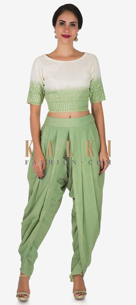 8e45b2397b We ship worldwide (Free Shipping over US$100) Click Anywhere to Tag Pista  green and white dhoti suit adorn in beautiful thread work only on Kalki  Pista ...