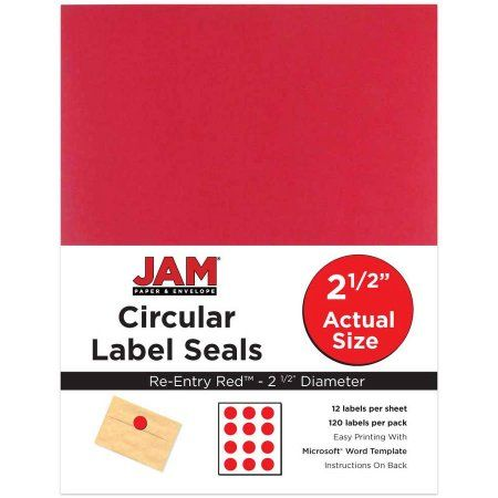 Jam paper 2 1 2 inch circle label sticker seals re entry red 120 pack circle labels label stickers and walmart