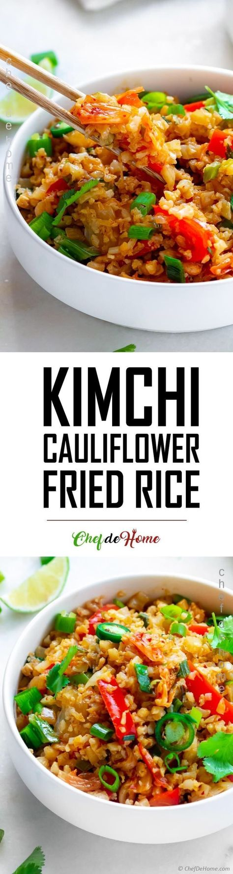 Kimchi Fried Rice, quintessential Korean fried rice recipe, where rice (low carb cauliflower rice) are pan fried with Korean Kimchi, seasoning and veggies. This recipe is not traditional Fried Rice but a low carb version of the Korean favorite. #glutenfree #cauliflower #rice #kimchi #fried #rice #recipe #vegan #spicyfood #healthyrecipes #plantbaseddiet #keto #lowcarb #diet #vegetarian #cauliflowerfriedrice Kimchi Fried Rice, quintessential Korean fried rice recipe, where rice (low carb cauliflow