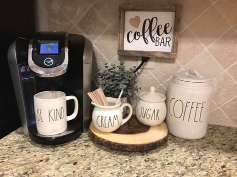 Coffee bars for the kitchen counter have become VERY popular with homeowners in recent years. Setting up a home coffee bar on the kitchen counter is a convenient place to create a coffee corner so that you can make your morning coffee with everything at y