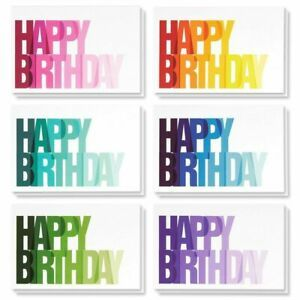 48 Happy Birthday Cards Blank Inside W Envelope 6 Colorful Ombre Designs 4 X6 Happy Birthday Design Happy Birthday Cards Birthday Cards