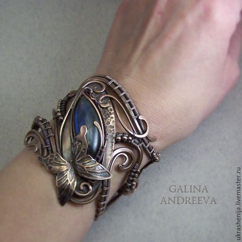 Bracelet of copper with a Labrador 'Flight of butterflies'. Galina Andreeva on Livemaster. Wire Wrapped Bracelet, Copper Bracelet, Copper Jewelry, Wire Jewelry, Jewelery, Jewelry Bracelets, Copper Cuff, Diamond Bracelets, Wire Earrings