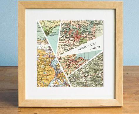 Wedding Gift, Anniversary Gift, Modern Personalized Map Art, 6 Map Design, Broken Glass Print, Perso