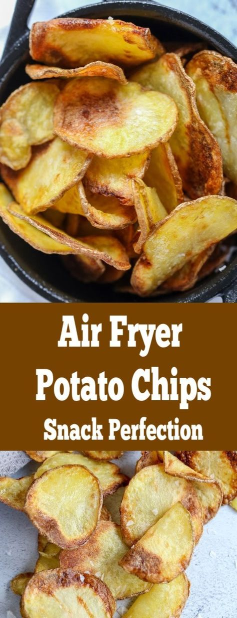 Air fryer potato chips, easy, quick and guilt free; the perfect movie night snack. Air fryer potato chips, easy, quick and guilt free; the perfect movie night snack. Air Fryer Recipes Breakfast, Air Fryer Oven Recipes, Air Frier Recipes, Air Fryer Dinner Recipes, Air Fryer Chips, Air Fryer Potato Chips, Patatas Chips, Air Fried Food, Snacks Saludables