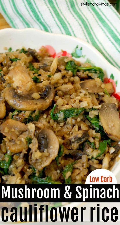 Mushroom Cauliflowercauliflower Rice Healthy Side Dish