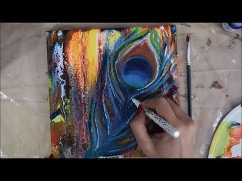 Swipe & Abstract Technique   How to paint Peacock feathers ...