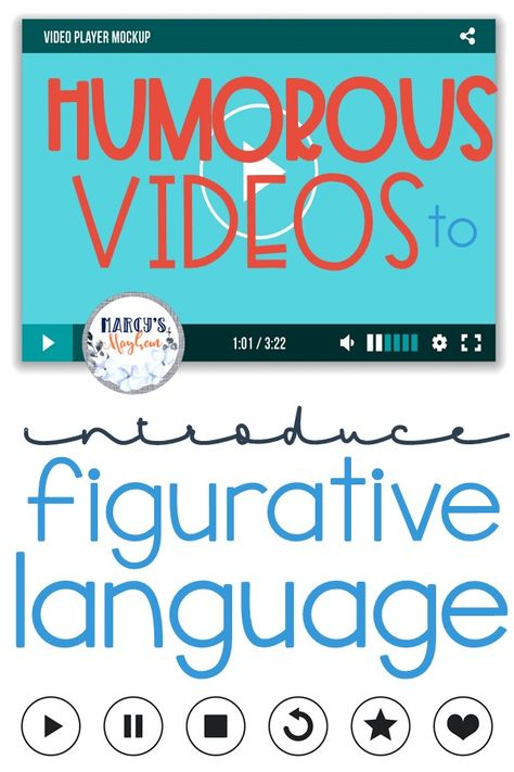 Your students can learn about figurative language with these videos geared towards kids and learning. Teach the student many different language styles. Teaching Language Arts, Language Lessons, Teaching Writing, Speech And Language, Language Activities, Idioms Activities, Middle School Reading, Middle School English, 4th Grade Reading